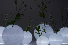 we+ explores new applications for wax with their latest design – moon-like Disguise vases that cast light through their textured shells.