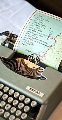 Love the idea of typing poetry and an old map. -- could type family stories on maps for heritage scrapbook.Now where do I find a typewriter? Mini Album Scrapbook, Couple Scrapbook, Wedding Scrapbook, Scrapbook Cards, Map Crafts, Crafts With Maps, Wedding Photo Gallery, Map Globe, Vintage Typewriters