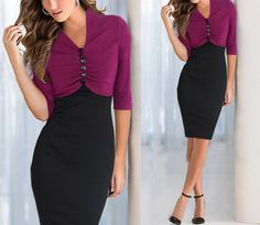 Stylish Splicing V-Neck Half Sleeves Button Decorated Slim Dress for Women