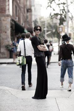 EatFashionNotCake: Nothing But The Black.    #black #chic #fashion #streetstyle #eatfashionnotcake #2013 #style #blackonblack #hot #classic #sexy #edgy #dress #maxi #sunnies
