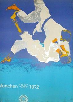 Munich 1972 Summer Olympics - Judo poster. Design by Otl Aicher
