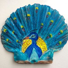Painted scallop shell. #peacock #artystuff #sugarplumpig #100happydays