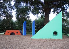 Playscape (1975–76). A new restoration was completed in late September 2014 with a little help from Herman Miller Cares and Geiger in partnership with Park Pride. Artwork by Martha Clifford.