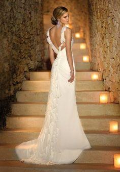 sleek, backless, beautiful wedding dress