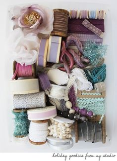 Ribbons, spools and craft material