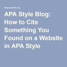 Question on APA style?