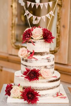 Love this gorgeous #NakedCake in the Grain House! (Laura Lee Photography) #Wedding #WeddingCake #Rustic #Unique #Fall #NJWedding #WeddingVenue