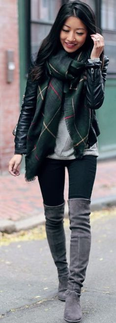 I like the scarf and top. Not crazy about boots over the knee though. This would be a casual look for me. Dark Casual Layers Fall Inspo by Extra Petite Extra Petite, Look Casual, Casual Fall, Casual Chic, Fall Winter Outfits, Autumn Winter Fashion, Winter Boots, Fall Fashion, Net Fashion