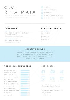 Great, clkean look on this resume style, love the middle banner look! Resume Design, Resume Style, Creative Resumes, Creative Resume Style, Creative Resume Design, Curriculum Vitae, CV    CV/Resume by Rita Maia, via Behance