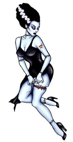 Bride of Frankenstein Pinup. Get more Halloween tattoo inspiration at www. Bride of Frankenstein Pinup. Get more Halloween tattoo inspiration at www. Pin Up Tattoos, Body Art Tattoos, Girl Tattoos, Tatoos, Pin Up Girl Tattoo, Pinup Art, Rockabilly Art, Horror Comics, Horror Art