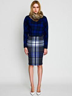 Rabbit Snood, Gradation Check Pullover and Check Skirt / LE CIEL BLEU