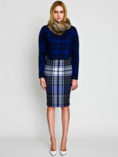 Rabbit Snood, Gradation Check Pullover and Check Skirt / LE CIEL BLEU