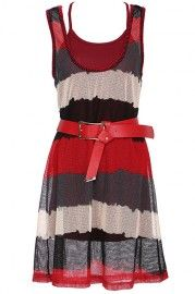 ROMWE Color Block Red Sleeveless Two-pieced Dress