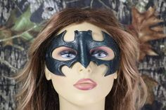 leather sparkling emerald green batman mask