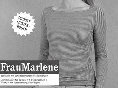 Oberteile & Jacken - FrauMARLENE Basicshirt für Damen,  Schnittmuster - ein Designerstück von schnittreif bei DaWanda