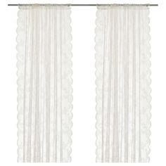 IKEA - ALVINE SPETS, Net curtains, 1 pair, The net curtains let the daylight through but provide privacy so they are perfect to use in a layered window solution.The slot heading allows you to hang the curtains directly on a curtain rod. Ikea Curtains, Curtains With Blinds, Sheer Curtains, Bedroom Curtains, Ikea Alvine, White Lace Curtains, Ikea Shopping, Filets, My Living Room