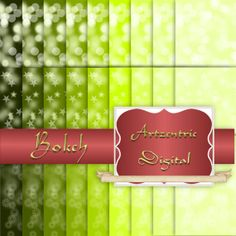 "Green Bokeh Digital Paper Pack, 27 Sheets 12"" x 12"" .jpg Files, backgrounds, stars, orbs, dots."