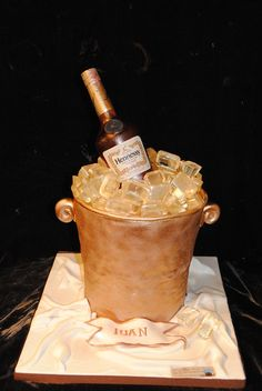 Sugar bottle and Ice / Fondant 30th Birthday Cakes For Men, Surprise Birthday, Henessy Cake, Gucci Cake, Buttercream Birthday Cake, Champagne Birthday, Bithday Cake, Bottle Cake, Funny Cake