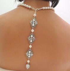 Bridal backdrop necklace Wedding necklace Pearl by treasures570, $125.00