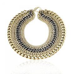 Matte Gold and Gunmetal 8 Strand Necklace from JANIS SAVITT