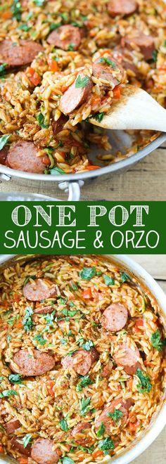 One Pot Cajun Style Smoked Sausage and Orzo