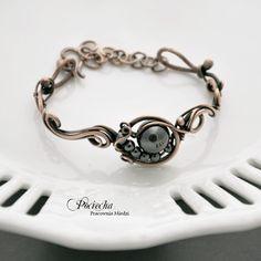 Comet - with hematite bracelet - Jewelry - DecoBazaar Enamel Jewelry, Copper Jewelry, Wire Jewelry, Beaded Jewelry, Copper Rings, Jewellery, Wire Wrapped Bracelet, Woven Bracelets, Link Bracelets