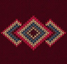 Style Abstract Trendy Seamless Symmetric Ethnic Geometric Color Knitted Pattern by Essl, via ShutterStock Fair Isle Knitting Patterns, Knitting Charts, Knit Patterns, Fabric Patterns, Hand Knitting, Geometric Embroidery, Hand Embroidery, Willow Weaving, Fabric Swatches