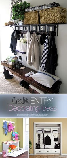 Entryway Benches for Small Spaces Below Rectangle Throw Pillow with Cotton Upholstery Fabric also Vintage Camping Lanterns Nearby Metal Sand Buckets also Small Storage Benches Beautiful Entrance Halls Narrow Foyer Bench Small Entry, Front Entry, Front Hallway, Small Hall, Decoration Entree, Sweet Home, Diy Home, Home Decor, Diy Casa