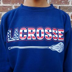 Sportabella Women's Lacrosse Comfort Colors Oversized Sweatshirt - Fleece Crewneck - Navy with Red, White, Blue USA Lax Print - $45 - Sportabella.com