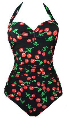 Cocoship 50s Retro Vintage Flora Print White Polka One Piece Swimwear Monokinis(FBA) -- $22.99-$23.99
