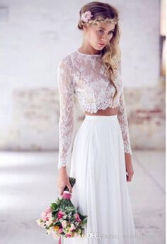 New  summer prom dress with long sleeves two pieces lace chiffon floor length plus size white party dress beach wedding dress fast shipping