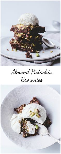 Pistachio Almond Brownies – These secretly healthy brownies have absolutely NO butter, are made with dark chocolate, and are low in fat and brown sugar!