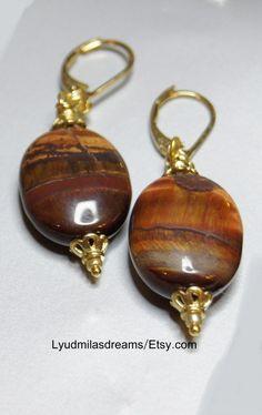 Red Tigereye Drop Earrings Gemstone Earrings Dangle by Trendydeals, $23.00