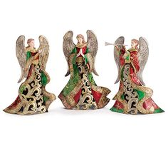 The In Harmony Tin Holiday Angel Figure Set features three angels adorned in red, green, and gold with wings of silver. Green Christmas, Retro Christmas, Christmas Angels, Christmas Shopping, Christmas Themes, Christmas Decorations, Holiday Decor, Collectible Figurines, Vintage Decor