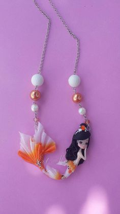 Necklace  Mermaid koi in fimo polymer clay by Artmary2 on Etsy