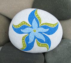 Hand Painted Cape Cod Beach Stone/Whimsical Blue Starfish/Unique Paperweight/Coastal Decor/Decorative
