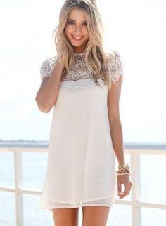 White Short Sleeve Dress with Scalloped Lace Hemline,  Dress, lace dress  shift dress, Chic