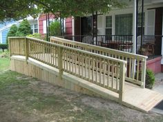 Ramp Rentals And Sales Bridgeway Independent Living . How Long Should A Wheelchair Ramp Be . Disabled Ramps, Ramps For Wheelchairs, Porch With Ramp, Wooden Ramp, Handicap Ramps, Fence Builders, Mobile Home Porch, Ramp Design, Access Ramp