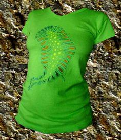 Handpainted unique slug lime woman t shirt by miritatshirts, €18.00