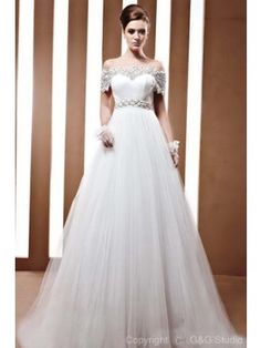 Stunning A-Line Off-Shoulder Satin and Tulle with Beading Floor-Length Wedding Dress WAL06480-G