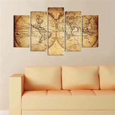 Globe terrestre - Cuadro 5 piezas - ocre