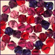 48 4mm Xilion 5328 Passion Mix Swarovski Crystals Bicone Pink Purple Red Violet $4.98
