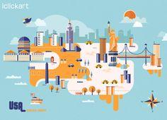 #landmark #image #USA  #map #illustration #iclickart #npine