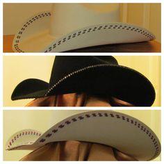 Add a fun style with custom rhinestones or stitching. Custom Cowboy Hats, Western Hats, Western Outfits, Horse Tack, Rhinestones, Westerns, Cool Style, Stitching, Custom Design