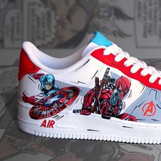 All Nike Shoes, Hype Shoes, Sneakers Nike, Custom Sneakers, Custom Shoes, Custom Af1, Marvel Shoes, Baskets, Aesthetic Shoes