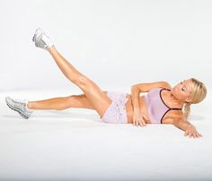 Lift left leg on a diagonal, then lower to start for one rep. Do 20 reps. Switch sides and repeat. Do 2 sets.