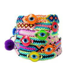 Limited Edition Neon Enamel Evil Eye Token Friendship Bracelet
