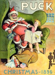Puck Christmas 1896. Santa Claus holds a tankard while sitting on a large chair with Puck sitting next to him. Their feet rest on a sack of toys. Vintage Christmas poster.