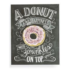 Lily & Val 'A Donut is Happiness' Chalkboard Print Wall Art (160 DKK) ❤ liked on Polyvore featuring home, home decor, wall art, black, paper wall art, black chalkboard, black chalk board, black home decor and black wall art