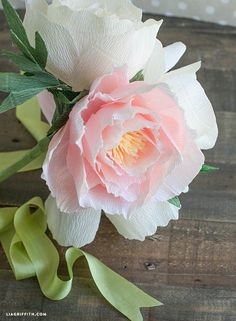 DIY Crepe Paper Peonies Easy Flower Crafts That Anyone Can Do Arts and crafts can be innovative expr Faux Flowers, Diy Flowers, Fabric Flowers, Wedding Flowers, Peony Flower, Bride Flowers, Flower Wall, Diy Wedding, Beautiful Flowers